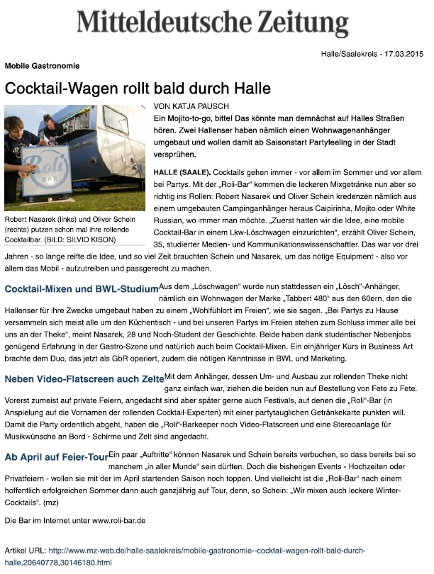 MZ Cocktail-Wagen rollt bald durch Halle - Mitteldeutsche Zeitung - 2015 03